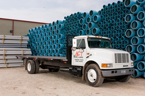 ACT truck carrying pipes